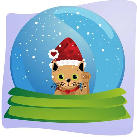 kitten in a christmas globe Stock Vector - 9723169