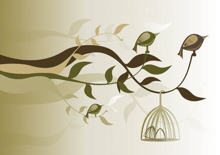 birds free of the cage and perched on branches Stock Vector - 9780421