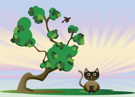 On a cold day have a cat under a tree Stock Vector - 9780438