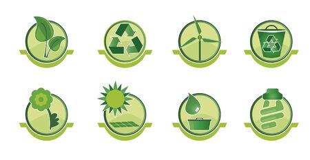 sustentabilidad: Conjunto de iconos con cuestiones sociales como el mundo sostenible y reciclaje. Vectores