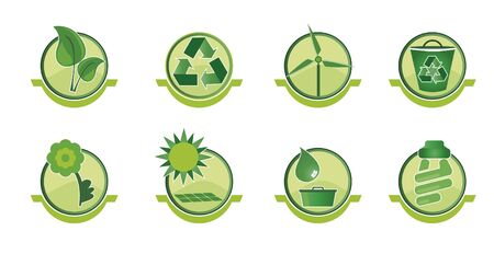 Set icons with social issues such as recycling and sustainable world. Stock Vector - 9780442