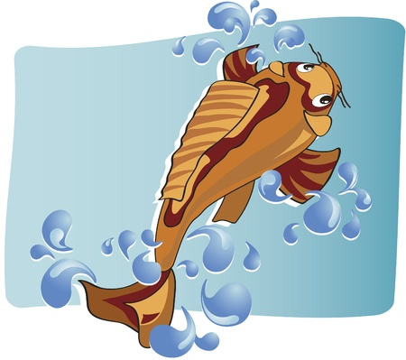 A carp swimming against the currents and bubbles of water around