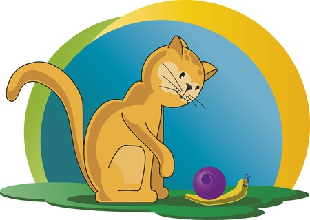 joking: Cat with snail - Yellow kitten playing with a snail on a sunny day. Illustration