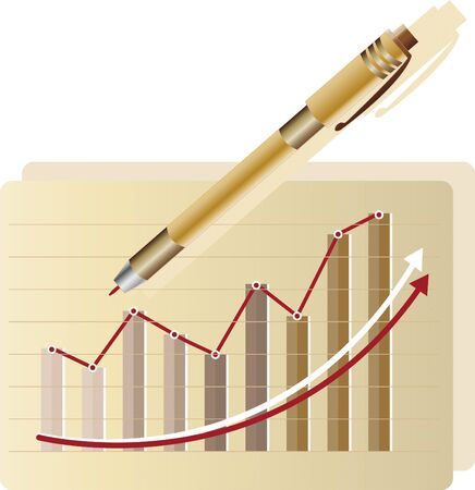 Statistic graph 1 - Statistical graph representing the company's growth. It also has a pen.