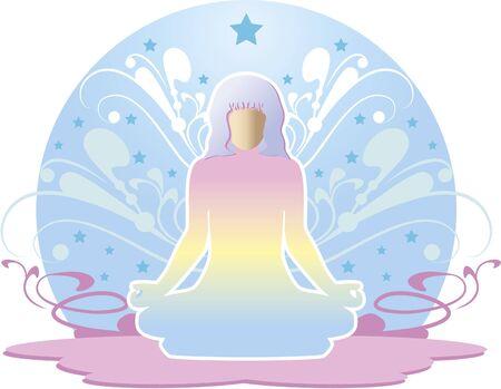 Woman meditating. Woman meditating. Around have ornaments and stars. Stock Vector - 9844793