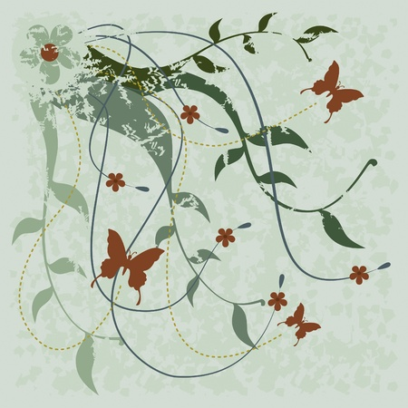 Flowers, butterflies and branches. Red flowers on green branches and butterflies for use as background or ornaments.  イラスト・ベクター素材
