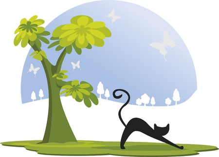 Black kitten. On a day of blue sky, has a black cat under a tree. There are butterflies flying. Stock Vector - 9844797