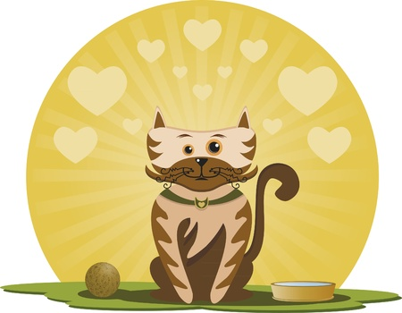 Kitten with ball. On a sunny day, have a happy kitten. There is a ball and a pot of water. Hearts background.