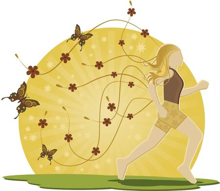 Woman running and flowers. Woman with long blond hair and loose. She is still running and has flowers and butterflies. Stock Vector - 9844799