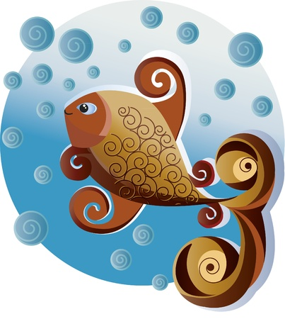 Ornamental fish. An ornamental fish swimming in the sea. It has water bubbles around them.