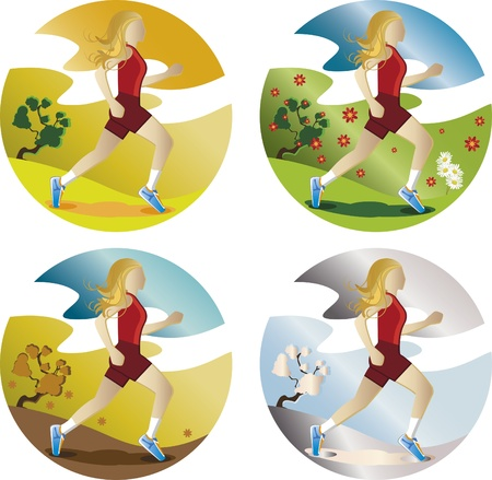 Woman running in four seasons. Woman with long blond hair and loose. She is running in four seasons. Stock Vector - 9844801