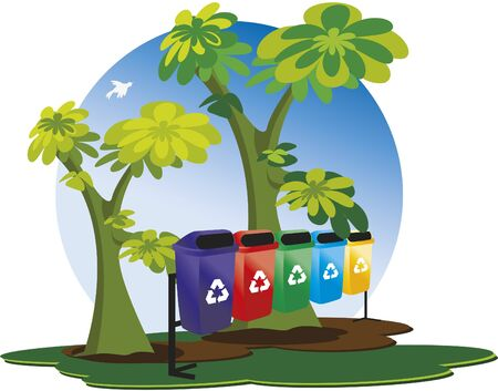 garbage collection: Garbage collection for recycling. Garbage collection containers for recycling. It also has a blue sky, trees and a bird.