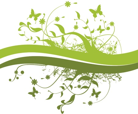 all in: Branches, leaves and butterflies. Branches, leaves, flowers and butterflies. All in green, for use as background or ornaments. Illustration