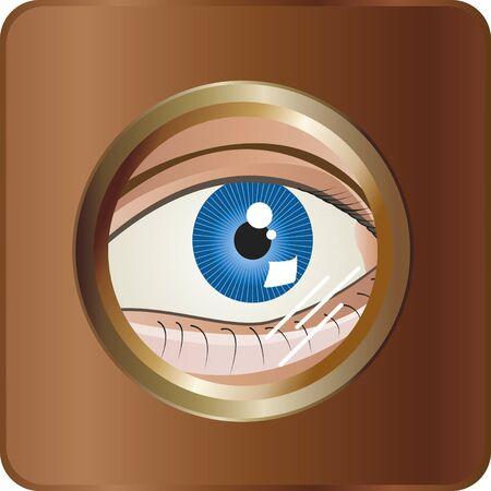 spying: The eye. A blue eye spying by a magic eye.