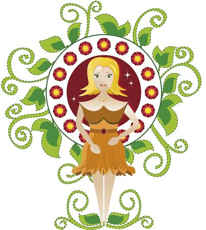 Women and branches. Blonde woman with flowers in a frame of green branches.  イラスト・ベクター素材