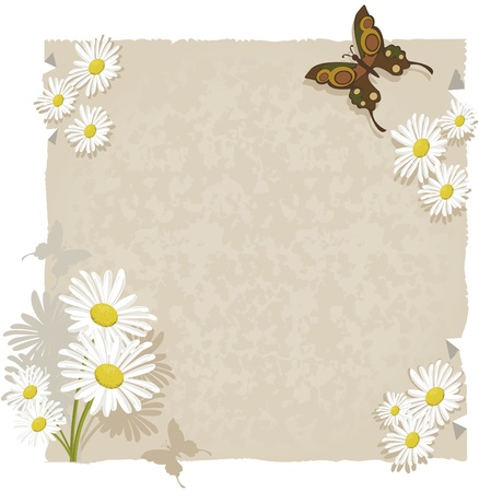 Paper with daisies and butterflies.Textured paper with daisy decorations and even butterflies. For use as background or ornaments. Stock Vector - 9871484