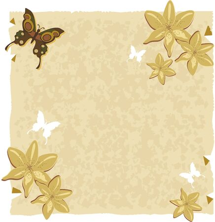 Paper with lily and butterflies.Textured paper with lily decorations and even butterflies. For use as background or ornaments.