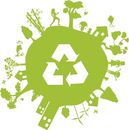 reciclar: Green Earth. Globe containing various elements such as houses, buildings, people and even the recycle symbol. Ilustração