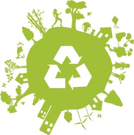 Tierra verde. Globo que contiene varios elementos tales como casas, edificios, personas y incluso el símbolo de la Papelera de reciclaje.
