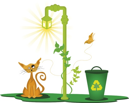 The cat and the lamp. Cat under a lamp. He is looking at a butterfly. It also has a trash can to recycle. Stock Vector - 9871479