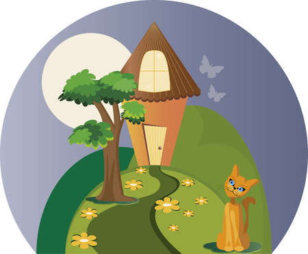 The house and the cat. A house in the country. It has trees, mountains, cats, flowers and even butterflies.  イラスト・ベクター素材
