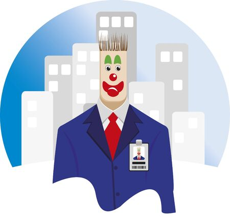 Employee clown. Executive wearing a suit and tie and look like a clown.  イラスト・ベクター素材