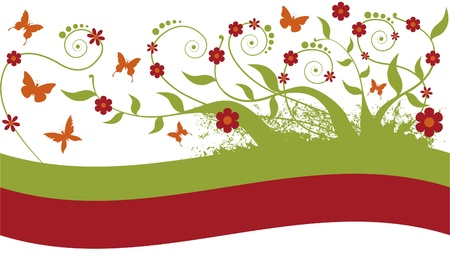 Floral ornament. Branches, leaves, flowers and butterflies for use as background or ornaments.