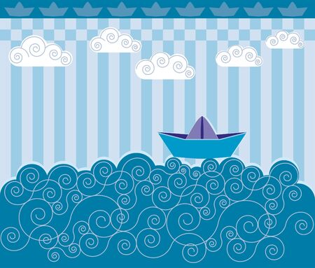 A paper boat sailing on blue waves. Childrens drawings.
