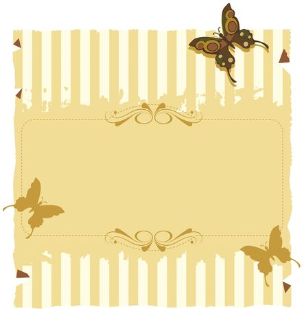 Paper invitation with stripes and butterflies. Textured paper with yellow stripes and even butterflies. For use on background or invitations or decorations.
