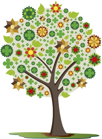 Trees of luck. Tree with different colored flowers, leaves and lucky clover.
