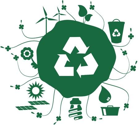 Conjunto de iconos de tierra verde. Globo con conjunto de iconos con cuestiones sociales, como el reciclaje y sostenible mundial y sin embargo el símbolo de la Papelera de reciclaje.