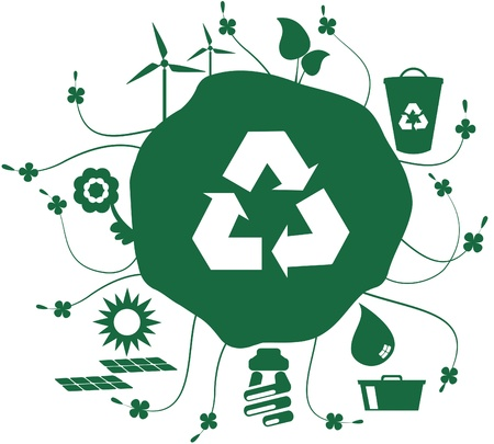 Earth green icon set. Globe with set of icons with social issues such as recycling and sustainable world and yet the recycle symbol.