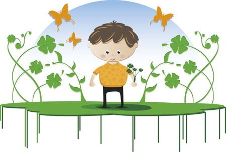 Lucky boy. Boy holding lucky clovers, with several branches and even butterflies  イラスト・ベクター素材