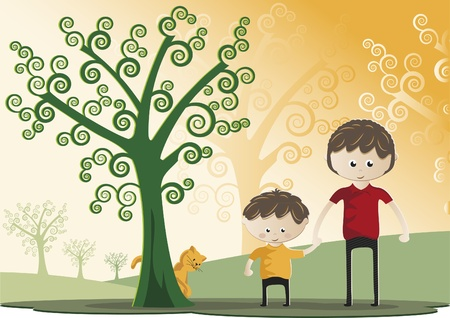 Father and son walking through a forest together. It also has a kitten. Celebration of Fathers Day. Illustration