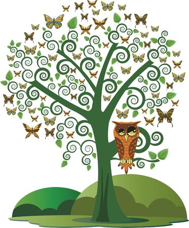Owl in the tree and butterflies. Ornamental tree with several butterflies and even an owl.