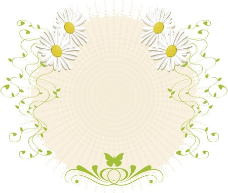 Background with daisies and branches. Textured paper with daisy decorations, ornaments and butterfly. For use as background or ornaments.