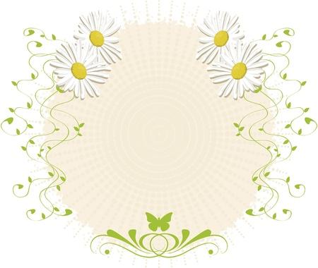 Fondo con margaritas y ramas. Papel con textura con decoraciones de daisy, adornos y mariposa. Para su uso como fondo o adornos. Ilustración de vector