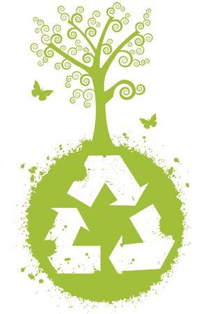 sostenibilit�: Riciclare per una migliore natura. Globo con simbolo di riciclo. Ha un albero grande e bello. Dispone di farfalle. Vettoriali