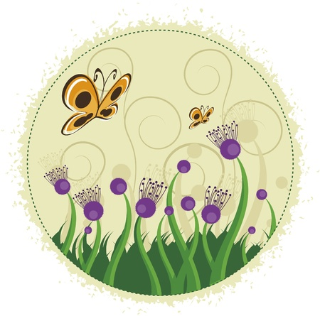 even: Purple flowers and butterflies. Several branches with purple flowers and even butterflies.