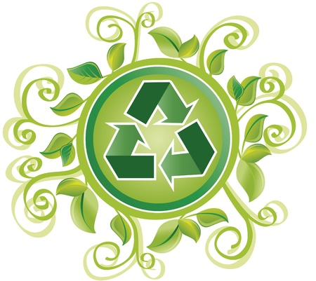Recycle Green foliage. circle with the recycle symbol and yet many green foliage