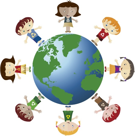 sostenibilit�: Globe e bambini. Globo con molti figli. Usano il simbolo di riciclo. Vettoriali
