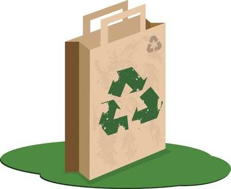 Recycle bag. Craft paper bag with recycle symbol