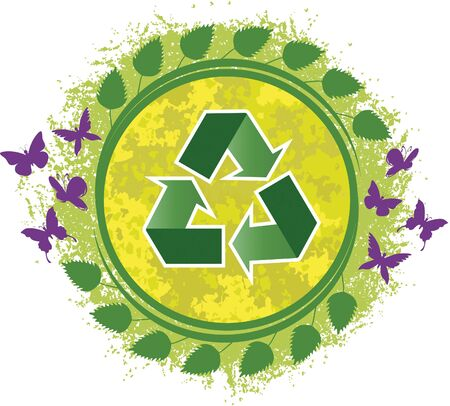 Illustration recycle. Recycling symbol. On his return to green leaves and purple butterflies still  イラスト・ベクター素材