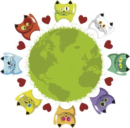 surrounded: Gattini del mondo. Globo circondato da cuori e gattini colorati. Vettoriali