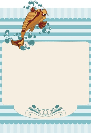 Paper invitation with stripes and a carp. Textured paper with yellow stripes and even a carp swimming against the currents and bubbles of water around them. For use on bottom or invitations or decorations.  イラスト・ベクター素材