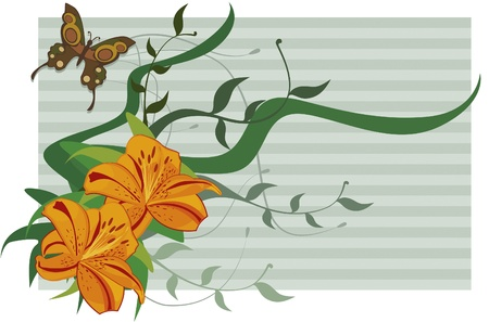 Paper with stripes and lilies. Textured paper with stripes. Lilies and even branches and leaves and butterfly.  イラスト・ベクター素材