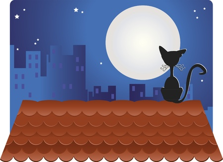 Black Cat on roof. A black cat on the roof looking at the full moon. There are buildings in the background.