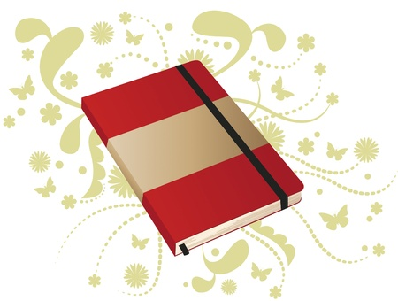 Red Book notes. Notebook with notes of red elastic. It also has ornaments and butterflies.