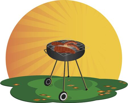 roasting: Grill. A barbecue on a sunny day. There roasting meat.