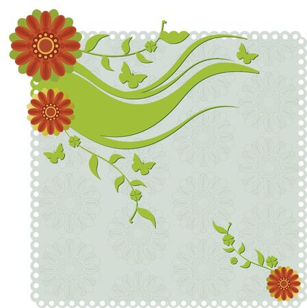 Paper invitation with flowers. Paper background with flowers, branches and flowers and butterflies.  イラスト・ベクター素材